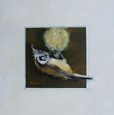 Original Oil painting - trompe l'oeil - bird portrait - crested tit - by j payne