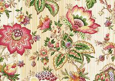 Mill Creek Fabric Penang Eggshell Tan Coral Green Cotton  Drapery Upholstery
