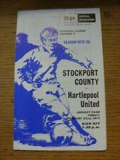23/02/1973 Stockport County v Hartlepool United  (Score & Sub Noted). Item In ve