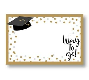 50 Blank Way to Go Graduation Enclosure Cards and 50 White Envelopes For Gifts