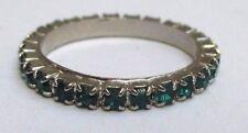 Bague alliance couleur argent  pierre de verre vert émeraude Taille 51  N°47