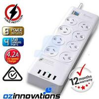 Power Board 8 Way Outlets Socket 4 Usb Charging Charger Ports Surge Protector