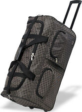 """30"""" Polyester Rolling Duffel Wheeled Luggage Suitcase Travel Duffel Bag - Brown"""