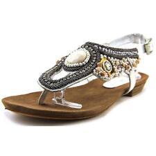 Calzado de mujer sandalias con tiras de color principal blanco de piel