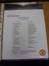 04/05/2011 Colour Teamsheet: European Cup Semi-Final: Manchester United v Schalk