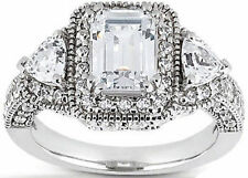 3.27 ct Total Emerald Round & Triangle DIAMOND Halo Engagement 14k Gold Ring