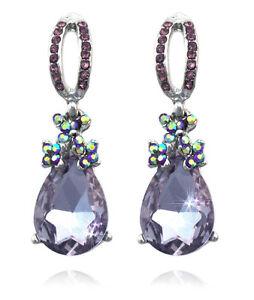 Lavender Dangle Teardrop Charm Prom Party Stud Post Earrings Women Jewelry