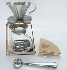 Drip Coffee Maker Set 1-2 Dripper Server Stand Measuring Spoon Stainless Steel