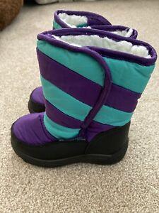 Caribou Junior Snow Boot Fleece Lined Mountain Warehouse 6 Purple Turquoise