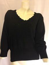 Hillard and Hanson Womens Black Long Sleeve Sweater Extra Large