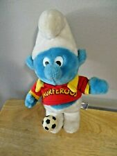1982 Smurf Soccer Player Smurferoos Plush Toy Wallace Berrie