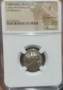 Campania Neapolis c.early 4th Century BC. NGC F. Silver  AR Didrachm