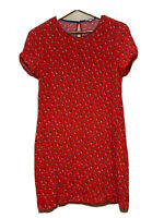MARCS Red Floral Shift Dress Size 12 Cap Sleeve Crew Neck Womens Rayon
