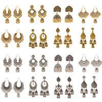 Retro Gold Silver Engrave Ethnic Bell Jhumka Gypsy Dangle Drop Women's Earrings