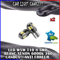 2 x ampoule Veilleuse LED W5W T10 Canbus BLANC XENON 6000k voiture moto 8 smd