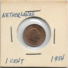 Netherlands Queen Juliana One Cent Coin -- 1954 MUST L@@K!