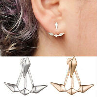 Punk Women Ladies Gold Silver Geometry Earrings Ear Hook Stud Fashion Jewelry