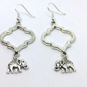 Karmastring silver colour Indian style dangle earrings with elephant boho ethnic