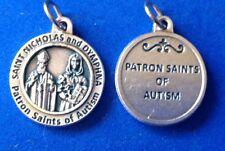 """St Nicholas St Dymphna Patron St of AUTISM Saint Medal Silver Oxidized 3/4"""""""