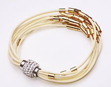 SERIOUSLY STYLISH BEIGE ROPE BRACELET GOLD METAL BEADS DIAMANTE CHARM (CL18)