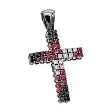 2.50ct Ruby & Black & White Sim Diamond Men's Cross Pendant Thanks Giving Gift