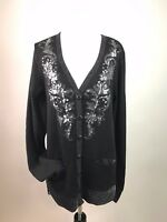 Miss Me Womens Cardigan Scroll Sequins Glitter Pockets Evening Dressy M AT31
