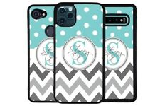 Teal Chevron Polka Dot Personalized Phone Case for Apple Samsung LG Google