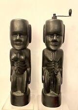 Vintage Large Tiki Carved Wood Black Painted Salt & Pepper Shaker/ Grinder Used