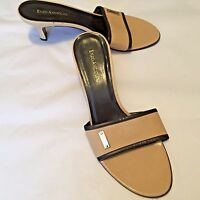 "Enzo Angiolini Women's Shoes Beige Black Open Toe Slides 2.75"" Heel Size 8.5M"