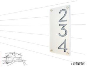 Modern House Numbers, Alucobond with Gray Acrylic - Vertical - Contemporary Home