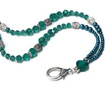 Beaded Necklace Lanyard, keys, work id badge holder Teal Blue Green pearls