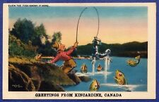 KM086 Vtg Old PostCard Kincardine ON Sports Fishing