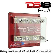 DS18 FH4W 4-Way Amplifier Power Distribution Fuse Holder 12V LED Power Indicator
