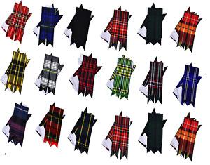 Scottish Kilt Sock Flashes 16 Tartans Tartans/Highland Kilt Hose Flashes Pointed