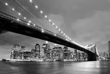 VLIES Fototapete-BROOKLYN BRIDGE-NEW YORK-(1506V)-Schwarz-Weiß City Skyline Bild