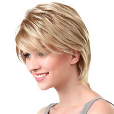 Women Girls Blond Real Human Hair Short Straight Bob Wig with Wig Cap
