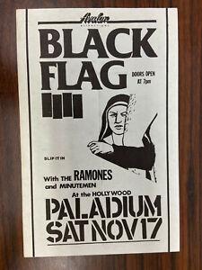 Black Flag and Ramones Original Super Rare Punk Rock Flyer early 1980s KBD