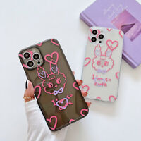 Cute Heart Rabbit Transparent Phone Case Cover For Apple iPhone12 XR 7 8 11 XS X
