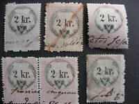 Austria 5 U 2 kr revenues collector believed had print,plate varieties,errors