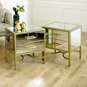 Pair gold mirrored bedside table occasional tables bedroom living room furniture