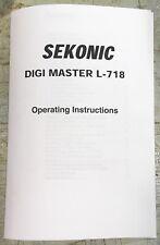 Sekonic Digi Master L-718 Light Meter Owner's Manual Operating Instructions