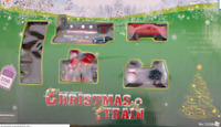 CHRISTMAS TRAIN SET NICE GIFT AROUND CHRISTMAS TREE TRACKS & CARRIAGES SANTA