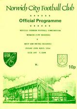 Norwich City v West Ham United Reserves programme, Combination, April 1994