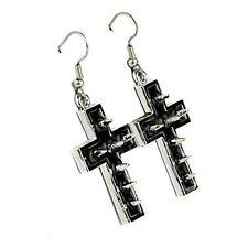 Silver Black Inlay Spike Cross Dangle Earrings Goth Punk Emo Grunge Alternative