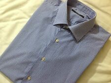 Pal Zileri Blue White Check Shirt Slim Fit Size 16.5 - 42