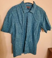 Ike by Ike Behar Button Up Short Sleeve L Shirt Blue Paisley Mens Large