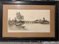 "George Bohde original etching ""The Old Drawbridge"" Antique Matt and frame Rustic"