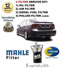 FOR SAAB 9-3 93 1.9 TiD 9/2004-> SERVICE SET OIL AIR FUEL POLLEN 4 FILTER KIT