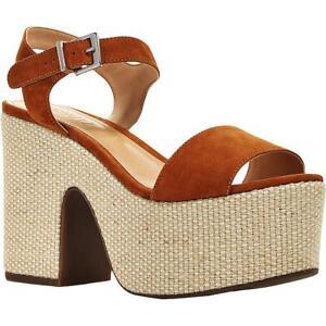 Schutz Womens Glorya Brown Platform Sandals Heels 9.5 Medium (B,M) BHFO 6187