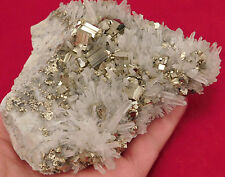 BIG AAA Cluster! with PERFECT QUARTZ Crystals & Pyrite Crystal CUBES Peru 552gr